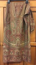 NWOT RALPH LAUREN Paisley Browns Wrap 100% Silk Skirt Multi Color Size 12