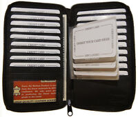Mens Black Leather Zip Around Long Card Holder Wallet with Staggered Inserts
