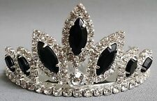 NEW Wedding Pageant Kids Girls Black oval stone Rhinestone Party Tiara hair comb