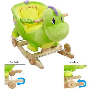 Baby Rocking Horse Stroller Wood Ride on Toy Toddler Dinosaur Chair Seat + Sound