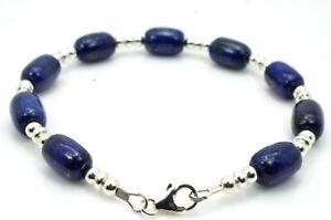 Bead Bracelet Lapis Lazuli 925 Sterling Silver Clasp Ladies Mens Handmade in UK