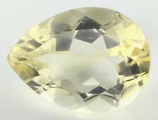 LARGE 16x12mm PEAR-FACET NATURAL BRAZILIAN LEMON CITRINE GEMSTONE