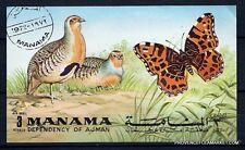 BL34 MANAMA  bloc oblitere la nature: oiseau et papillon