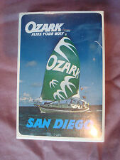 NEW in cellophane Vintage OZARK AIRLINES Plastic coated Playing Cards SAN DIEGO