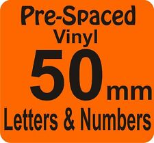 50mm x 6 Pre Spaced Self Adhesive Vinyl Letters Numbers DIY SIGN
