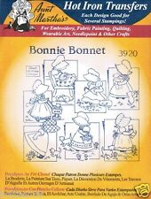 Bonnie Bonnet #3920 Aunt Martha's Hot Iron Embroidery Transfer Pattern