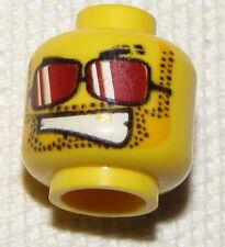 LEGO NEW MINIFIGURE HEAD RED SUNGLASSES DUAL SIDED WHITE TEETH MINIFIG FACE