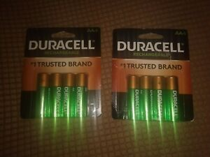 New Duracell ® 2500 mAh Rechargeable AA Batteries 8 Batteries DX1500 NiMh