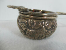 Teabag Strainer Holder Silverplate Embossed Floral Ornate Vtg 2 Pieces