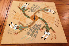 """Native American Navajo Yei Sand Painting Signed F. H. 12"""" x 12"""""""