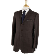 NWT $6995 KITON Olive Brown Melange Soft Cotton Fall-Winter Suit 38 R (Eu 48)