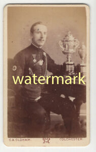 Soldier in uniform, with trophies, Colchester, Essex, CDV