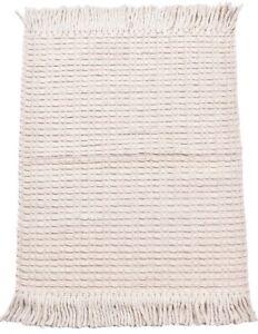 2x3 Ft Indian Art Mats Wool Rug Geometric Carpet Beige Area Rug 100% Natural Rug