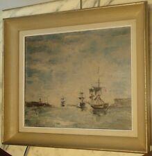 Huile sur Toile fin XIXe s. Navires Français dans le port Mer Océan Altlantique