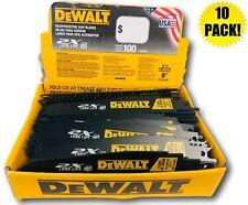 """(10) DEWALT 6"""" DWA4166B SAWZALL SAW BLADES 6TPI BI METAL & WOOD W/ NAILS"""