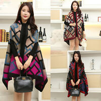 Women Cashmere Scarf Patchwork Plaid Poncho Cape Poncho Wrap Shawl Cloak Blanket