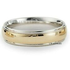 10K White & Yellow Gold Mens Womens Wedding Bands,Two Tone Gold Wedding Rings