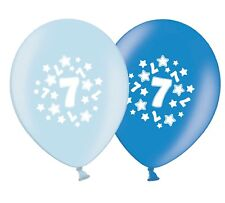 "number 7 - stars -  12""  Blue Assortment Latex Balloons pack of 12"