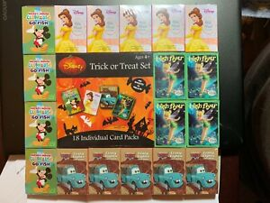 18 DISNEY CARD PACKS FOR PARTY FAVORS, GIFTS,  HALLOWEEN OR EASTER KIDS FUN!