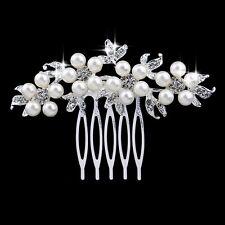 NATASHA Boda Perla Floral Cristal Diamante Vintage peineta