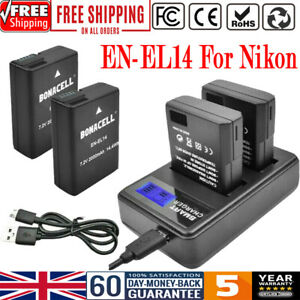2x EN-EL14 Battery+LCD Dual Charger for Nikon D5100 D5200D3100 D3200 D3500 P7000
