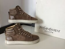Ysl Yves Saint Laurent Beige Boots Sneakers Box Size 38 Uk 5 Vgc Boxed