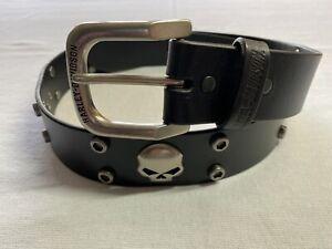 Harley-Davidson Men's Skull Rider Studded Genuine Leather Belt Size 36