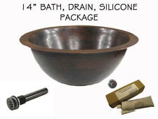"14"" Small Copper Round Undermount Bathroom Sink PACKAGE"