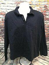 HUGO BOSS Men's 1/4 Button Long Sleeve Polo, 100% Cotton, Navy Blue, Size XL