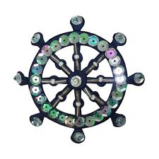 ID 2693 Nautical Wheel Patch Boat Ship Marine Sequins & Beads Iron On Applique