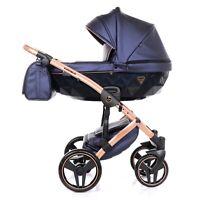 Exclusive Pram Junama Fluo 2 Blue + Black Baby Stroller Pushchair Travel System