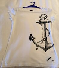 HENRI LLOYD  WHITE T SHIRT WITH NAVY ANCHOR DESIGN SIZE2 S/M
