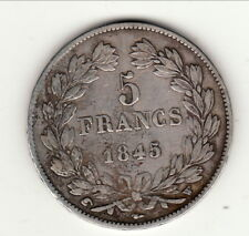 LOUIS PHILIPPE  TETE LAUREE    5 FRANCS 1845 W TTB     tranche en relief