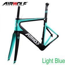 Full Carbon Road Bike Frame Fork Seatpost 700C BSA Racing Frameset Light Blue