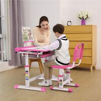 Ergonomic Children's Height Adjustable Study Desk Chair Set Tilt Desktop Storage