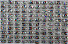 34pcs Alloy Jewelry Wholesale Lots Filled Colorful Charms Rhinestone Rings AH796