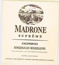 1930s California MADRONE SUPERME EMERALD RIESLING WINE label