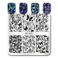 BORN PRETTY Schmetterling Nail Art Stamping Schablonen Blume Maniküre DIY BP-X52