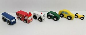 6 Mini Wooden Cars Set Thomas Fire Truck Wooden Bus Ambulance Pretend Play  1119