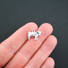 4 Cow Charms Antique Silver Tone 2 Sided - Sc2952