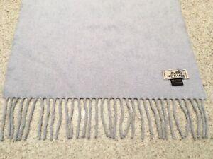 Unisex Hermes Cashmere Fringed Pale Gray Scarf/Muffler