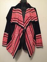 Ruby Rd. Cardigan Sweater Black Red White Womens Size S