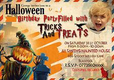 Personalizzato Festa Halloween/Birtday Inviti/ Biglietto di ringraziamento X 8