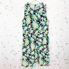 J Jill Dress Size Medium Blue White Floral Print Sleeveless Knee Length A Line