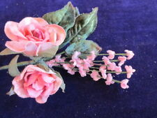 """Millinery Flower Velvet 3"""" Rose + 1/2"""" Forget Me Not Peachy Pink Hat Trim Y241a"""