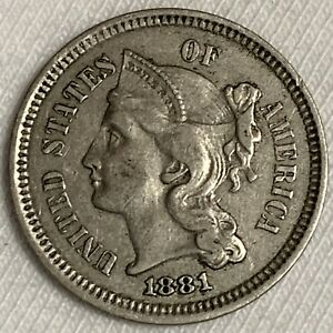 1881 Nickel 3 Cent Piece ~ Type Coin ~ Nice Details Lightly Circulated (L510)