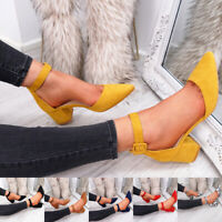 WOMENS LADIES HIGH BLOCK HEELS ANKLE STRAP PUMPS POINTED TOE FAUX SUEDE SHOES