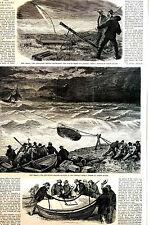 Joseph Becker - New Jersey LIFE SAVING SERVICE with STORY 1873 Art Print Matted