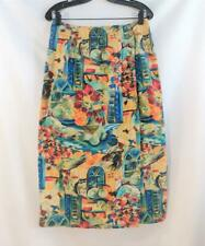 Women's RUFF HEWN Wrap SKIRT Size 14 Multicolor Cotton Midi Still Life Print