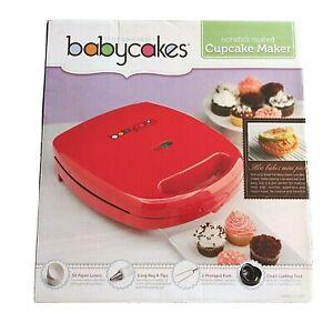The Original Babycakes Cupcake Maker CC-96RD Non Stick Coating Red